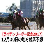 【アデュー2017賞】12月30日の地方競馬予想【ライデンリーダー記念】