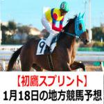 【スイートスプリング賞】1月18日の地方競馬予想【初鷹スプリント】