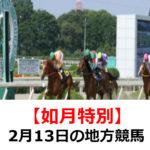 【如月特別】2月13日の地方競馬予想【蝋梅特別】